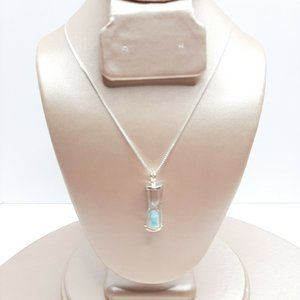 Womens Delicate Sterling Silver Hourglass Necklace
